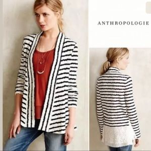 Anthropologie Postmark Striped Lace Cardigan